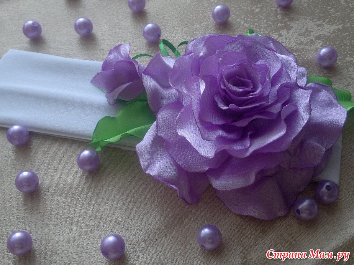"""Резиночка  """" Белая роза """" материал: капроновая лента, атласная лента.  Добрый день! .  А я снова к вам милые..."""