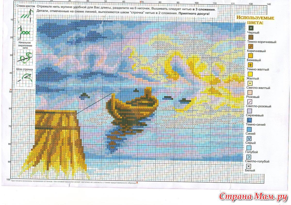 Вышивка крестом морские пейзажи и схемы к ним 582