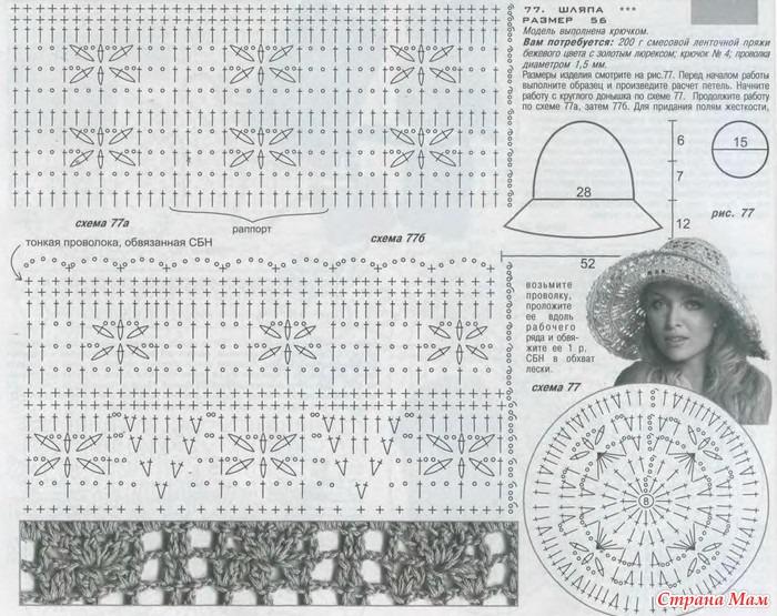 Вязание крючком летних шляпок для женщин схемы