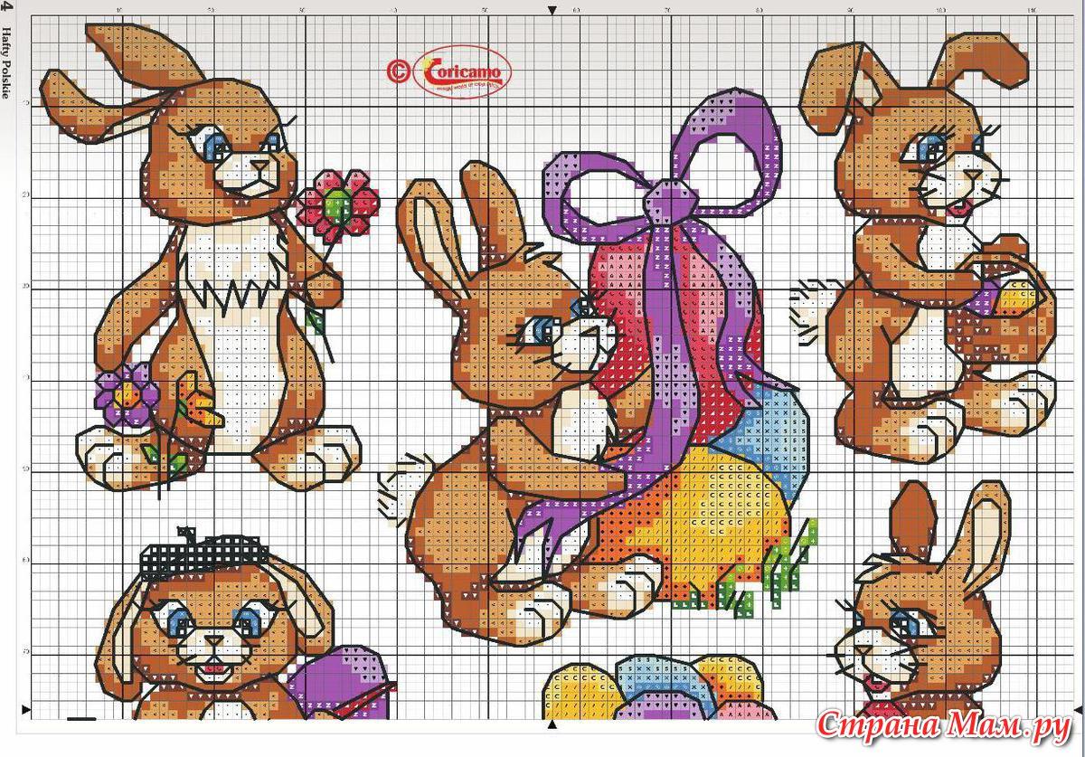 Схемы для вышивки крестом зайцев-кроликов 58