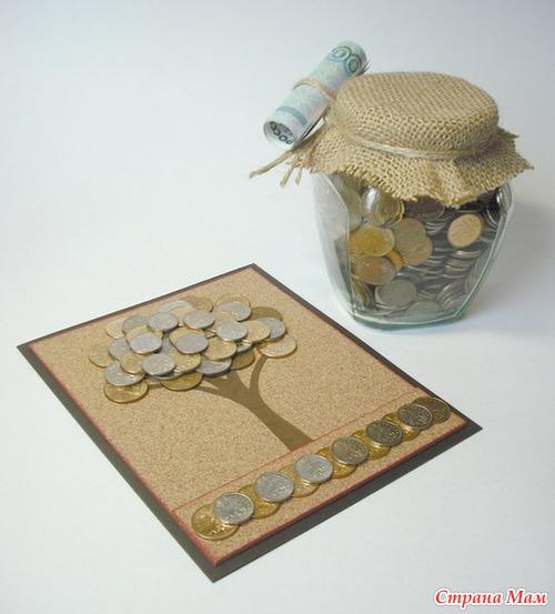 Открытка своими руками с деньгами