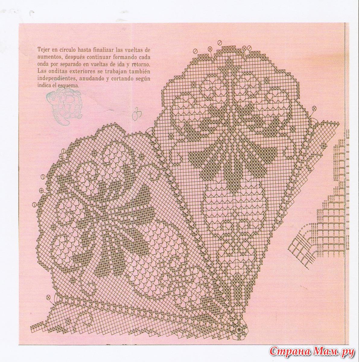 Схема филейного вязания крючком лилии