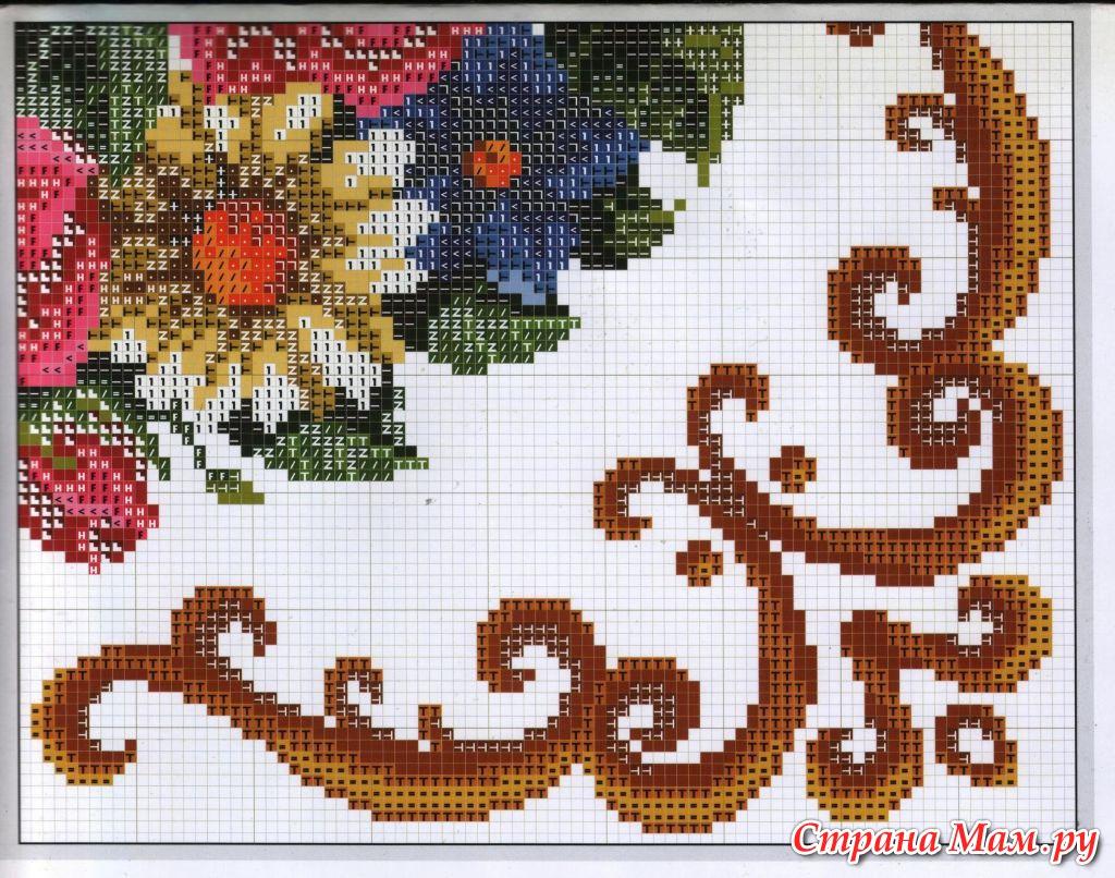 Схемы для вышивок подушки цветы