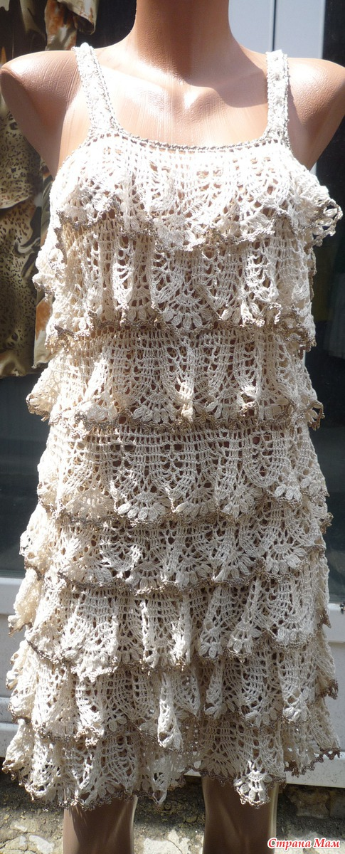 Вязание крючком платье с