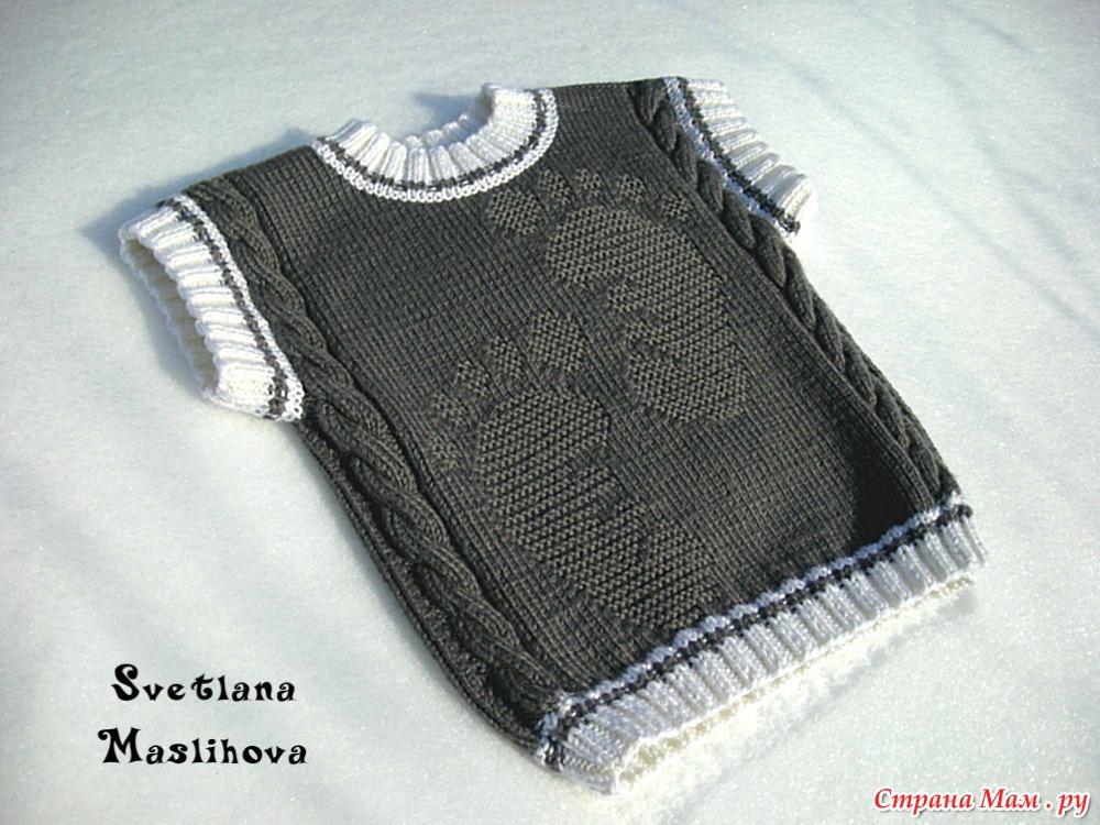 Вязание жилетка с рисунком