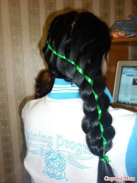 коса 4 пряди и лента