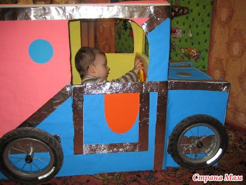 Как сделать машину из коробки для детей своими руками 68