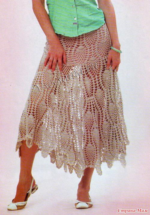 Две модели юбок крючком с