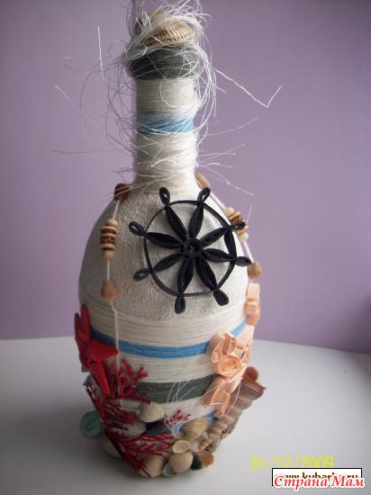 Декор бутылок своими руками в морском стиле