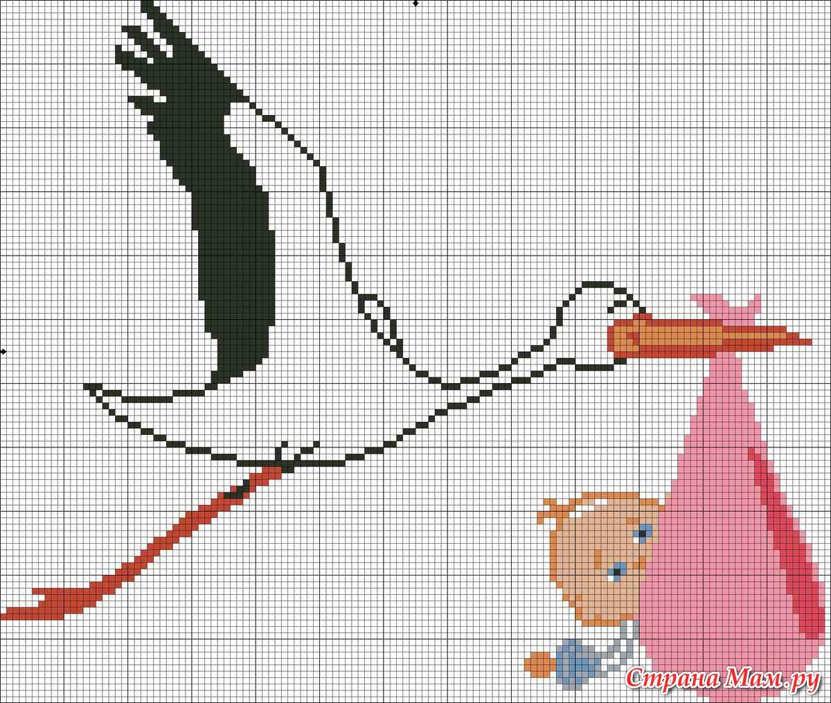 Вышивка аист с ребенком