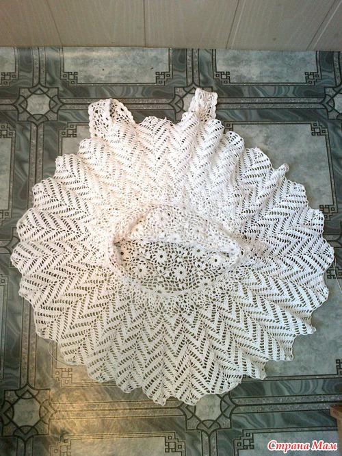 Короткая юбка-солнце крючком
