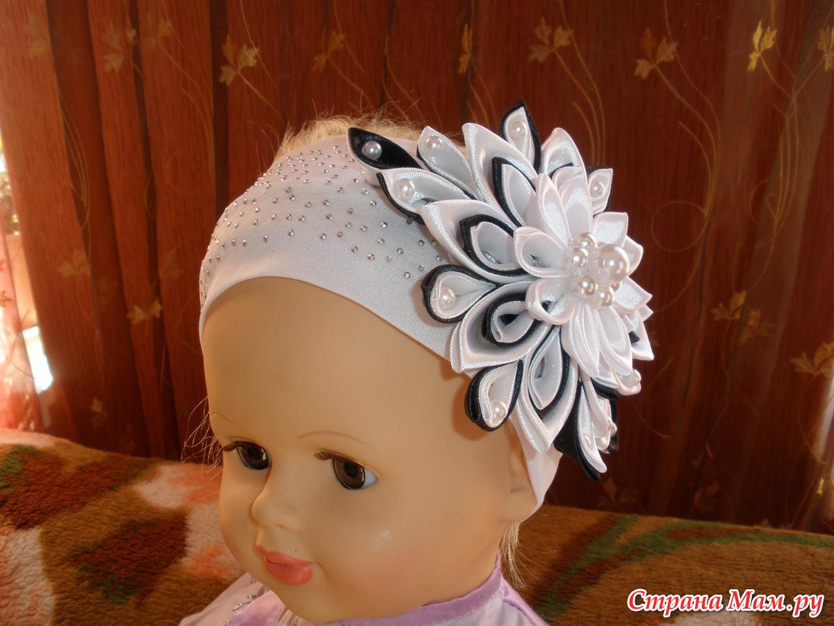 Ободки для волос своими руками из атласных лент мастер класс
