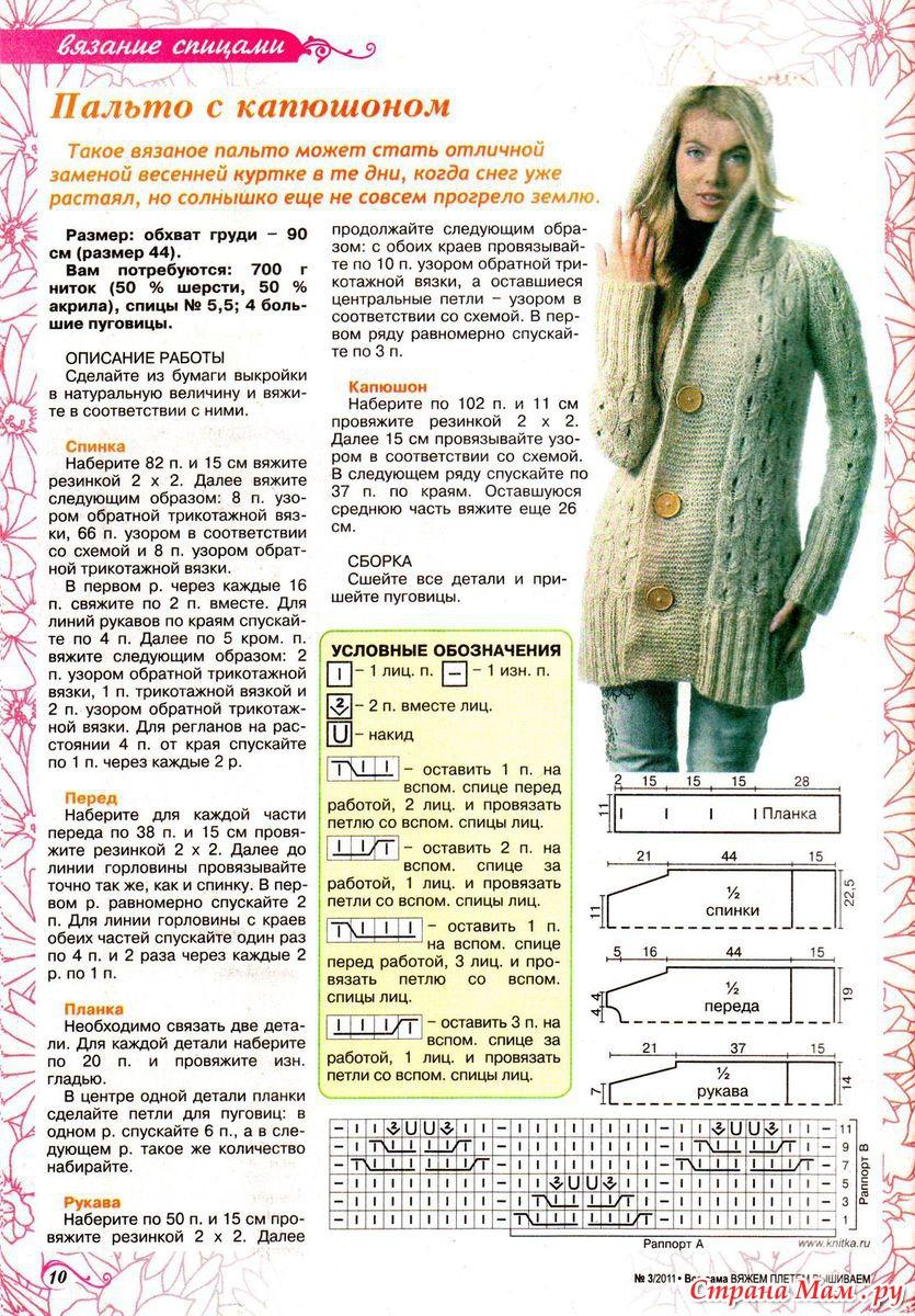 Вязаное пальто с капюшоном крючком схема