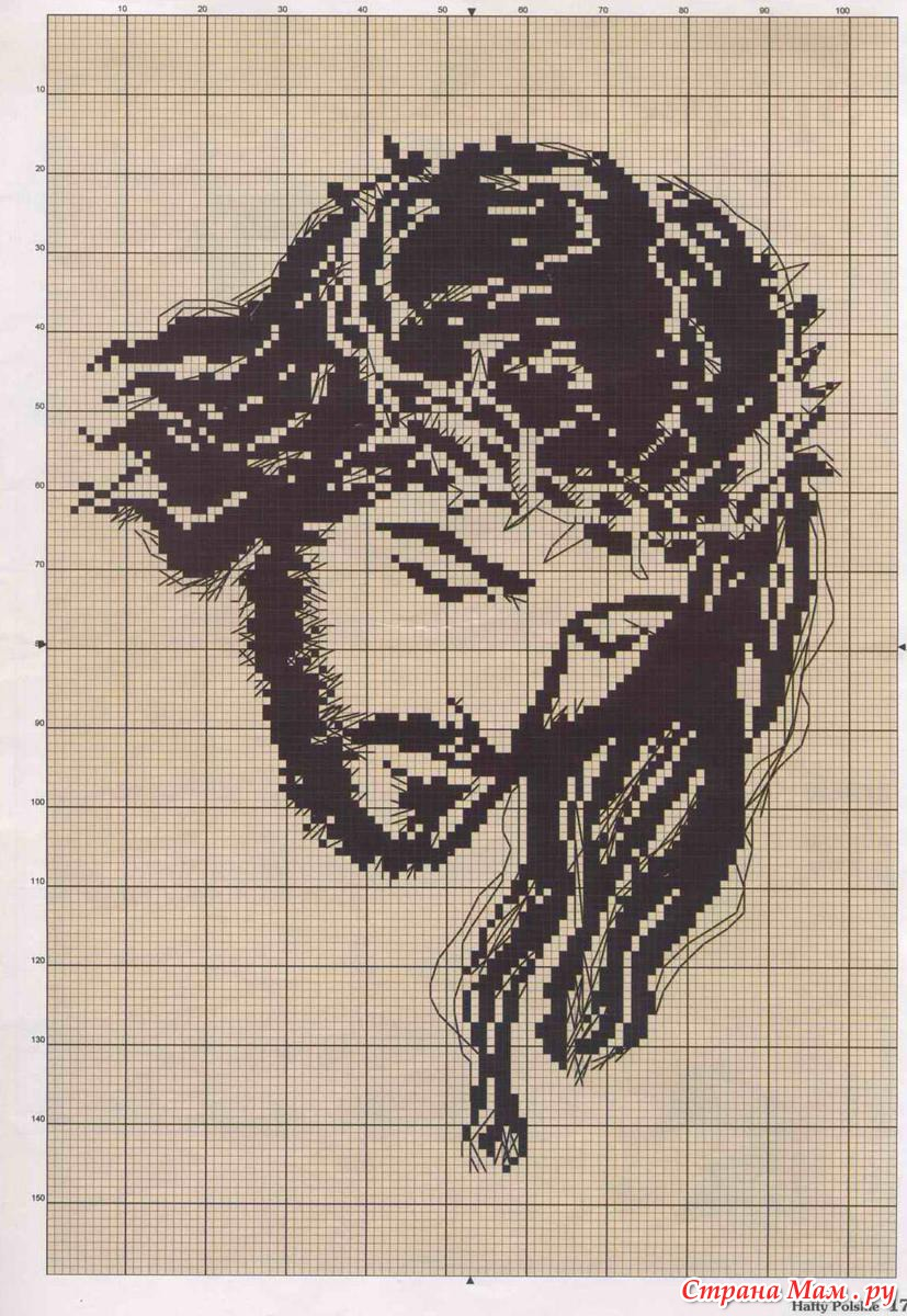 Схема картины из бисера черно белая
