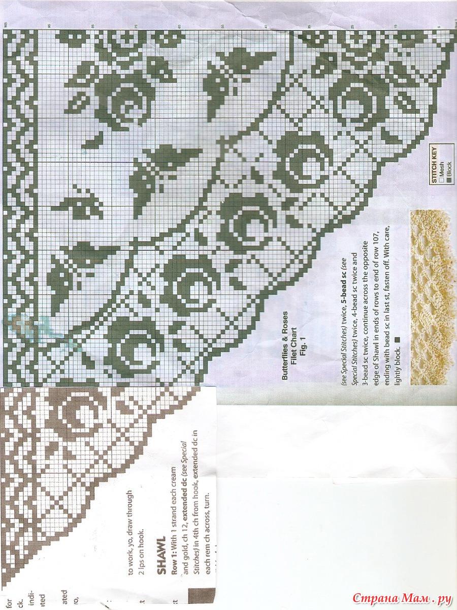 Вязание крючком схемы филейного вязания шали 805