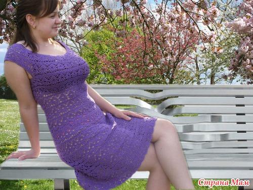 Платье крючком женское с круглой кокеткой