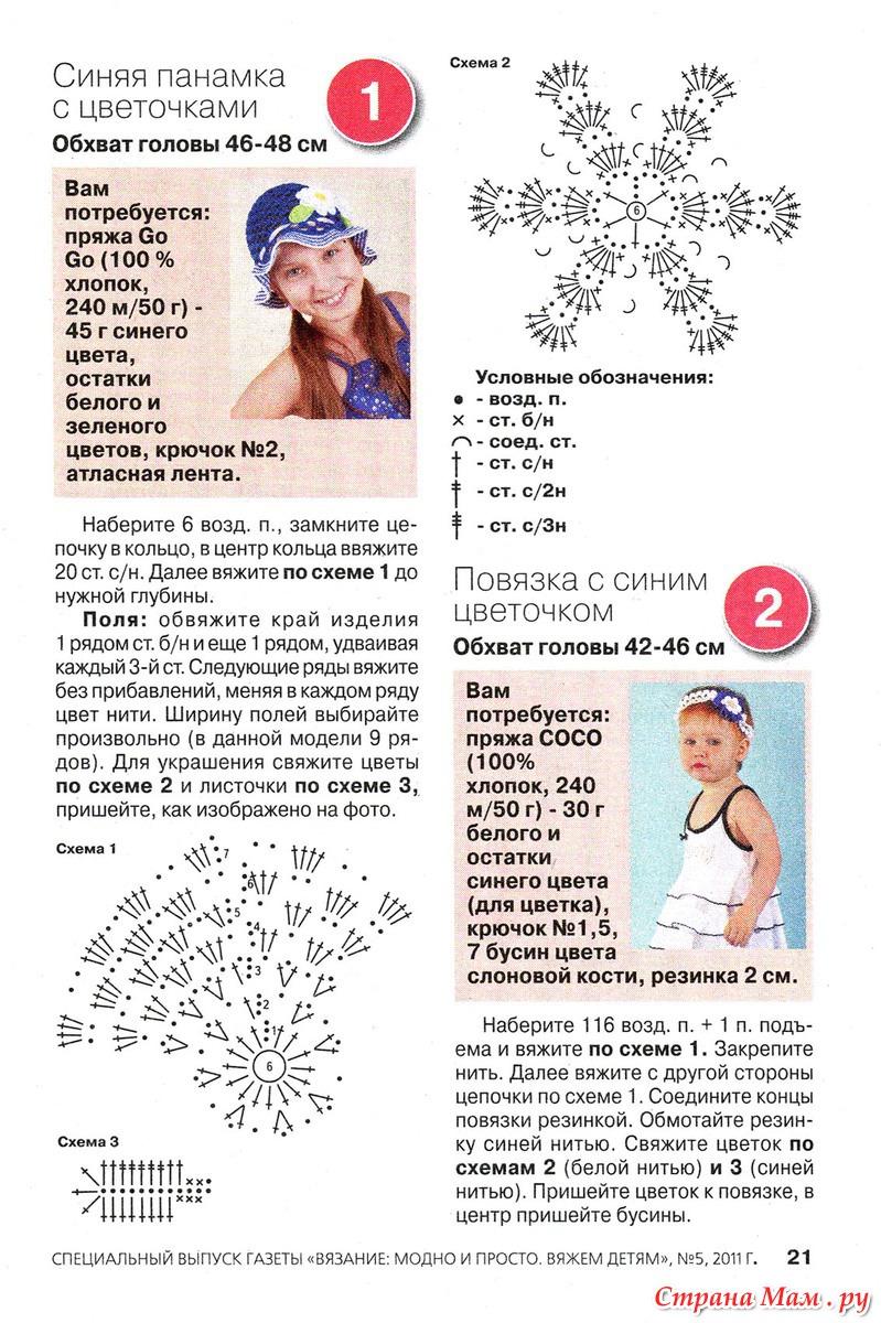 Вязание крючком панамки для девочек со схемами и описанием