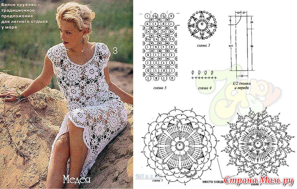 Фото вязаные летние платья крючком со схемами и описанием