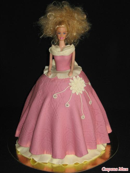 Торт мастика кукла.  Фото рецепт торта пьяная вишня.