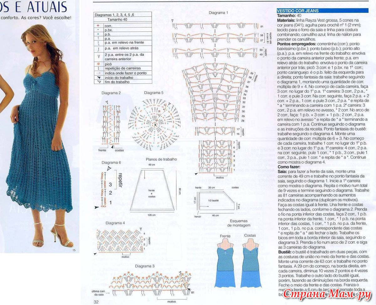 Платье вязанная крючком со схемами