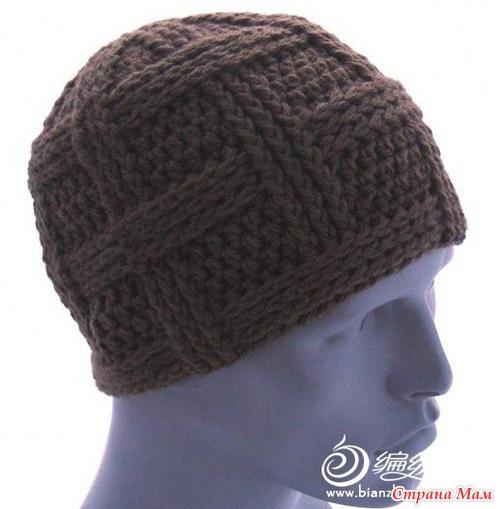 вязание крючком мужская шапка