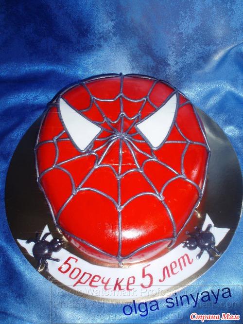 торты из мастики с человеком пауком фото
