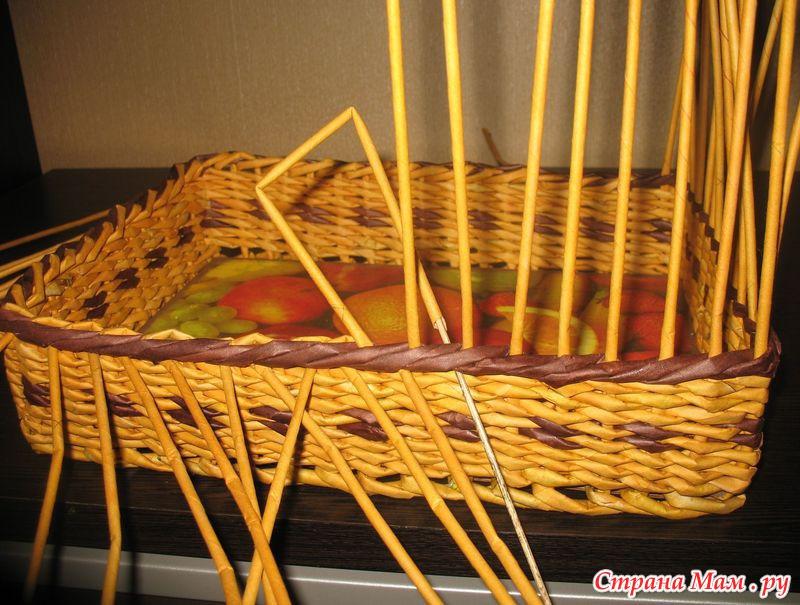 Газетное плетение веревочка из трех трубочек