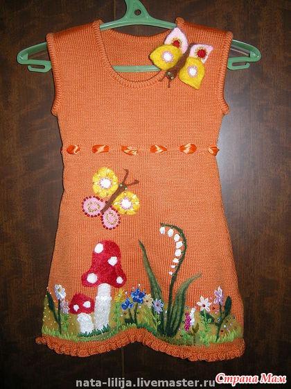 Как украсить вязаное платье для девочки своими руками 13