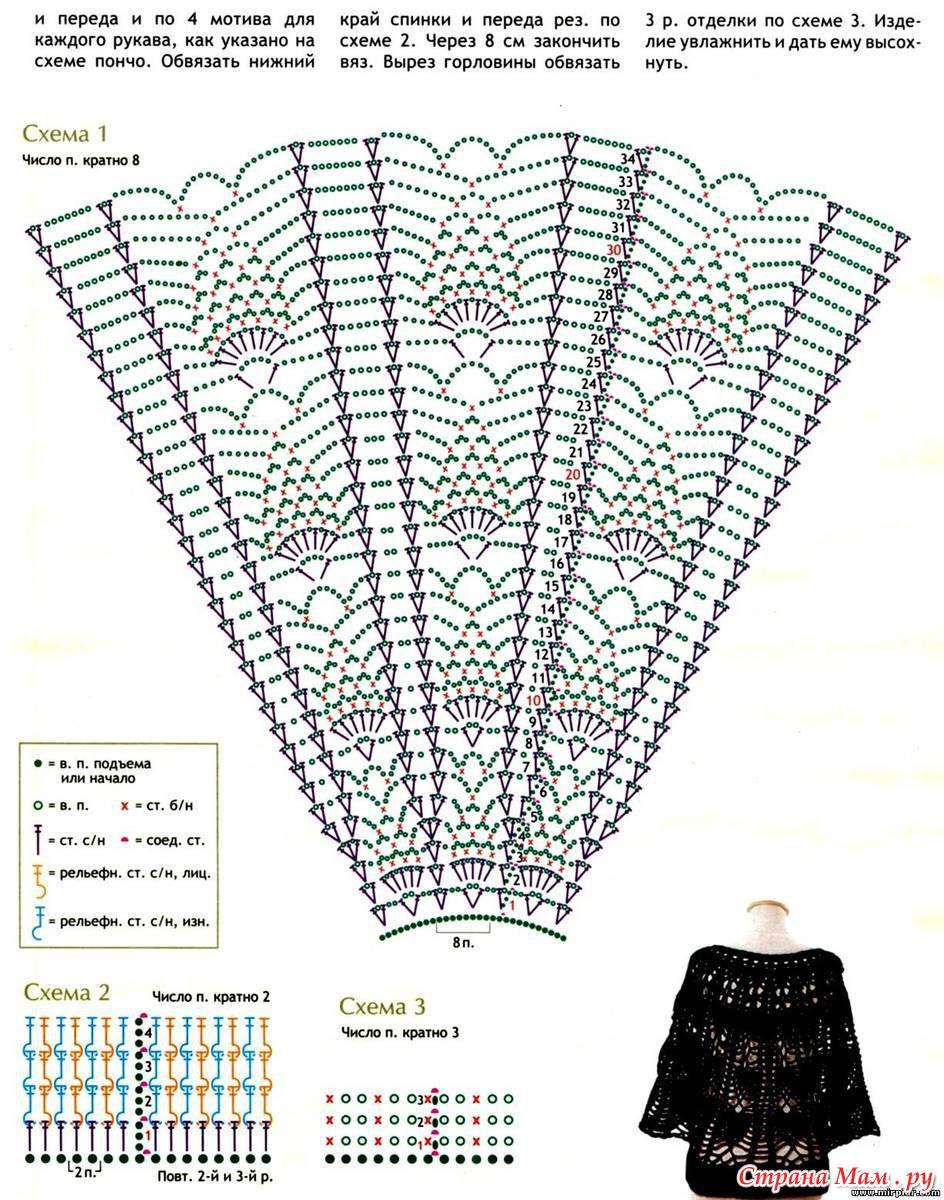 Накидки пончо крючком схемы и описание