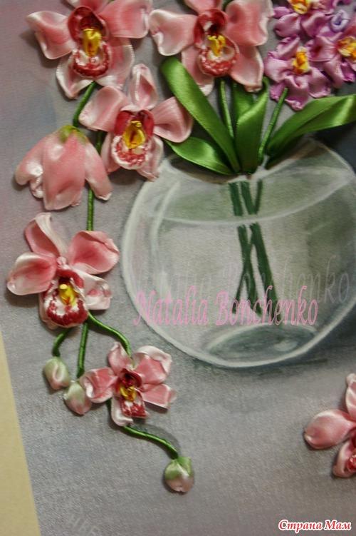 Мастер класс по вышивке лентами орхидея