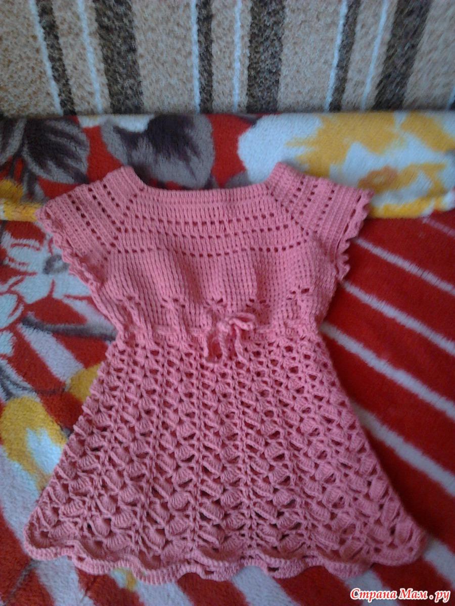 Вязаное платье спицами фото для детей