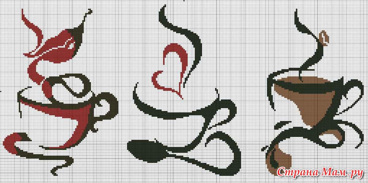 Вышивка крестом схема кофейная чашка
