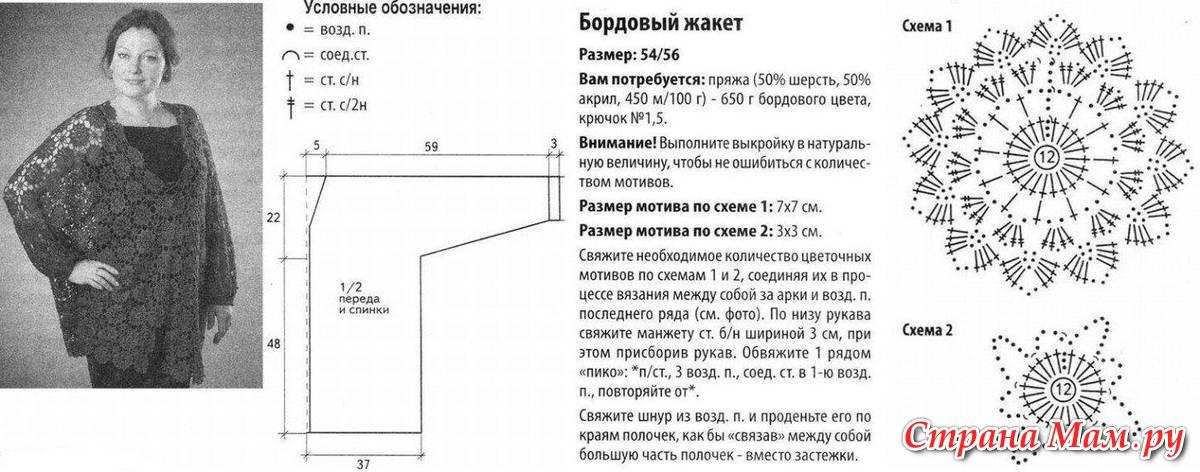 Вязание крючком кофточки со схемами для полных