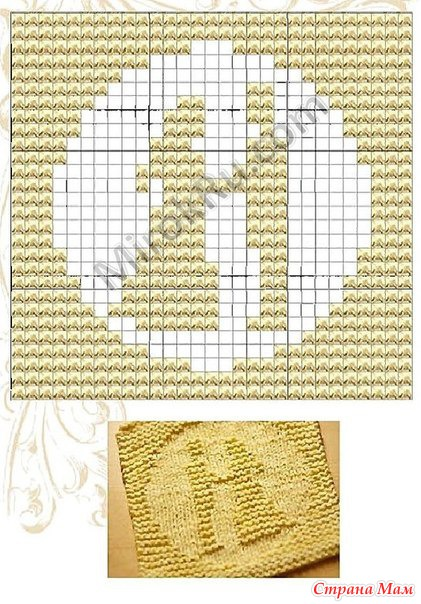 Схемы рисунков для вязания спицами лицевыми и изнаночными