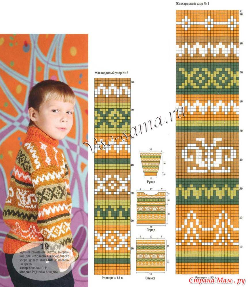 Детское вязание с жаккардовым узором