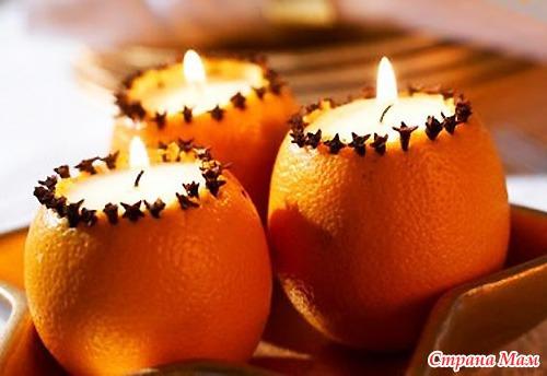 Свеча из апельсина фото