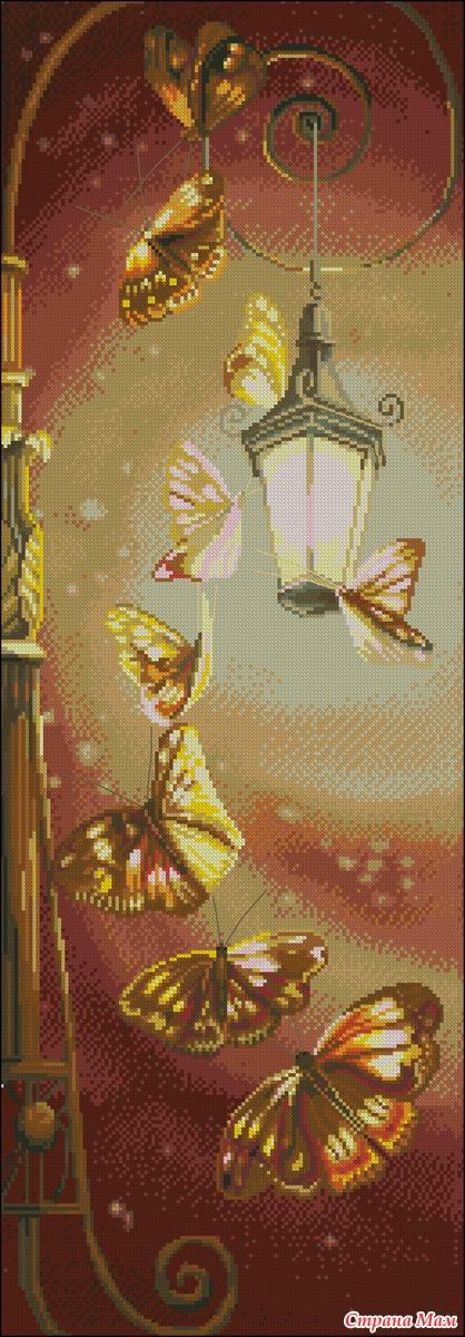 Фонарь бабочки вышивка