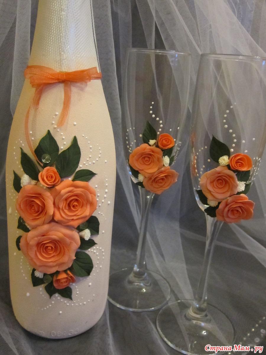 Украшение бокалов на свадьбу своими руками розами из полимерной глины