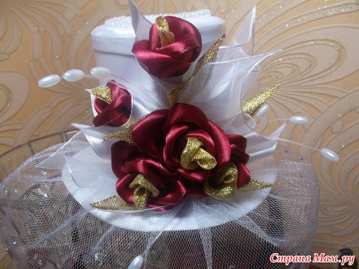 Вуаль с розой своими руками