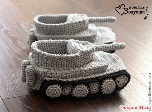 Схема вязания тапочки-танки
