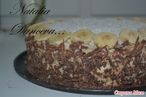 торт с печеньем рыбки и бананами без выпечки рецепт с фото