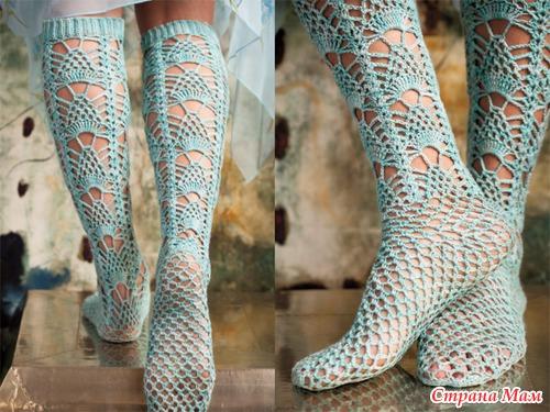 Ажурные гольфы носки вязание