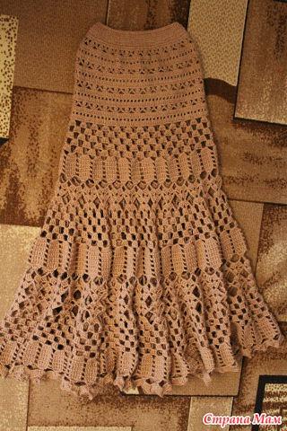 Вязанная длинная юбка крючком
