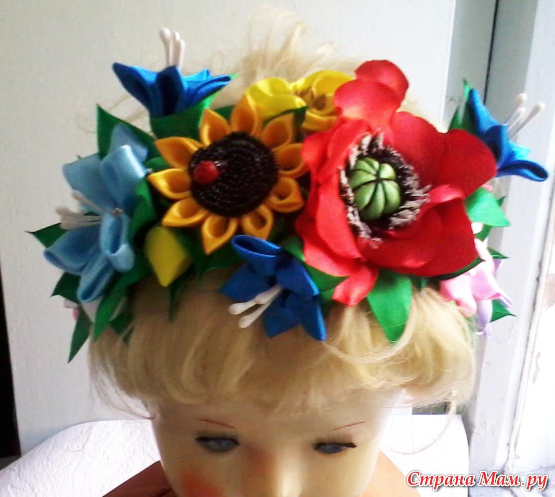 Как сделать венок на голову из искусственных цветов для костюма лето