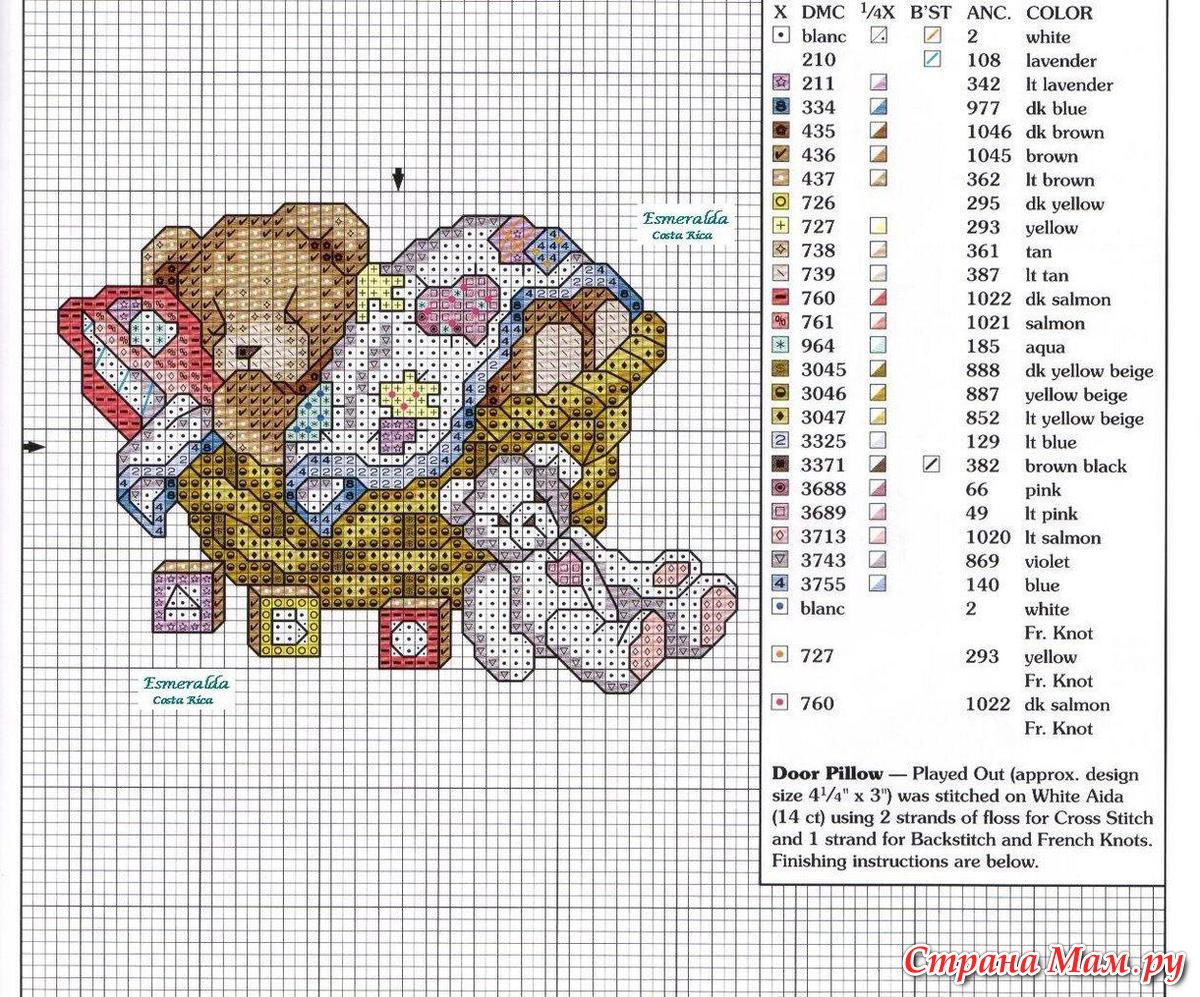 Вышивка крестом мальчик и медведь