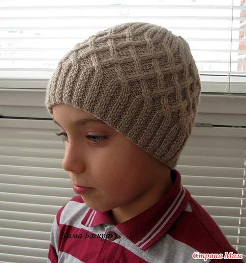 Вязание шапок на спицах-для мальчиков