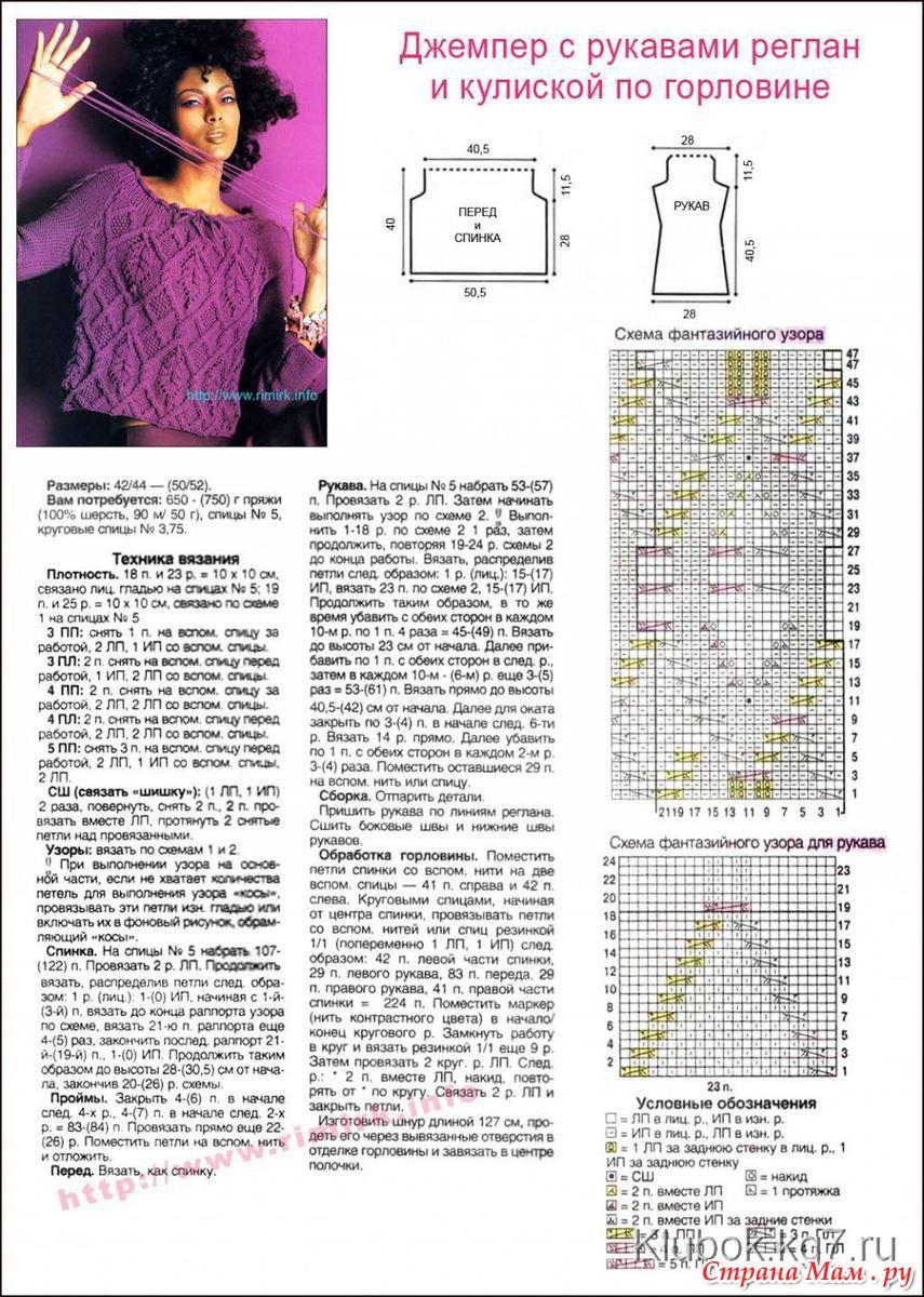 Вязание свитера с регланом спицами 77