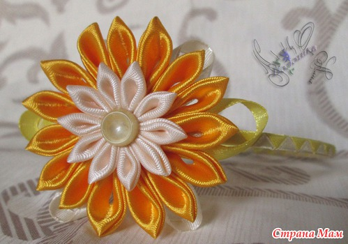 Обруч с цветами из атласных лент своими руками
