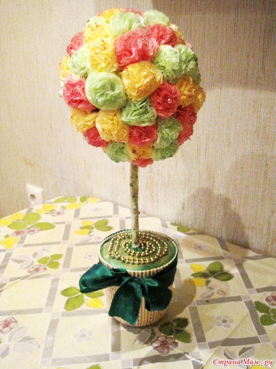 Как сделать цветочное дерево из салфеток