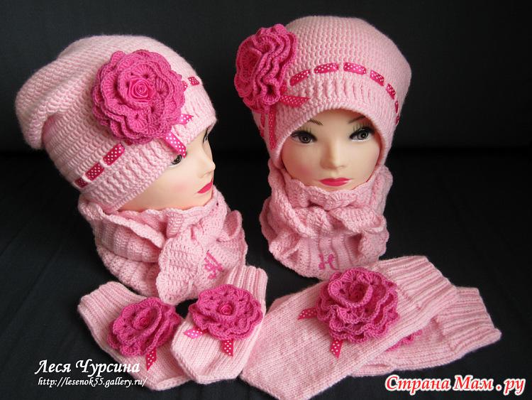 Вязание детских весенних шапочек для девочек
